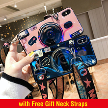 Glossy Blue Ray Case with Straps for iPhone XS MAX XR X XS Camera Phone Cases for iPhone 7 8 plus 6 6s 6s plus Soft TPU Cover strawberry tpu soft case for iphone 7 x xs xr xs max 8 plus cases glossy phone case for iphone 6s plus 6 plus fashion cover