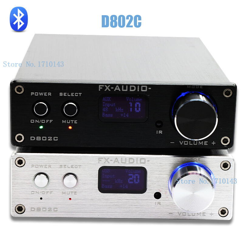 FX Audio D802C Wireless Bluetooth Version Input USB AUX Optical Coaxial Pure Digital Audio Amplifier 24Bit