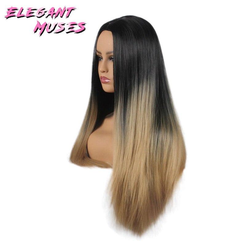 ZARIF MUSES Siyah Kadınlar Için 26 inç Ombre Gri Peruk Uzun Düz - Sentetik Saç - Fotoğraf 6