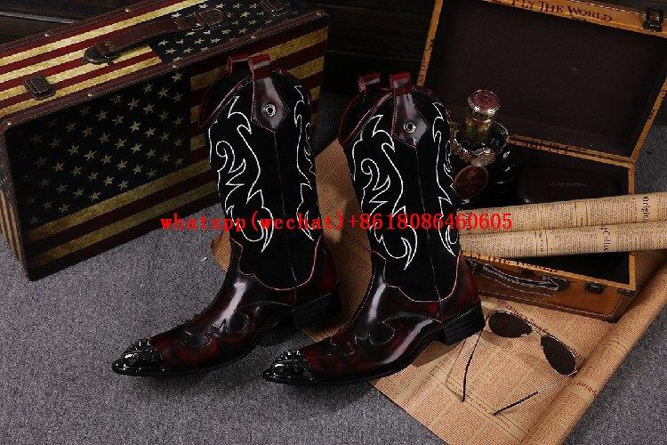 US $126.72 36% OFF|Neue Stahlkappe Metall Botas Masculina Mens Kniehohe Stiefel Handgefertigte High Heels Cowboy Stiefel Besetzt Herren Kleid