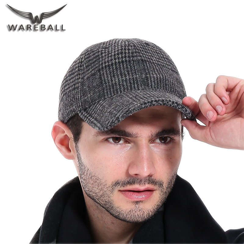 [WAREBALL]Fshion Caps Unisex New Brand 100% Cotton Warm Plaid Adjustable Size Winter Baseball Cap Men Sports Snapback Hats new unisex 100% cotton outdoor baseball cap russian emblem embroidery snapback fashion sports hats for men