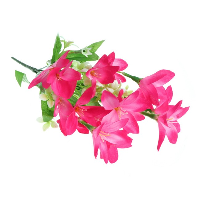 6 Heads Narcissus Lily Artificial Silk Flowers Bouquet Ornaments ...