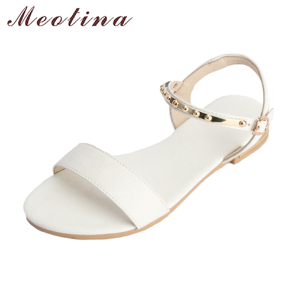 Meotina Cow Leather Flats Sandals Summer Shoes Women Ankle Strap Studs  Casual Shoes Flats Sandals Black Big Size 42 43 44 White af8ceb8000b5