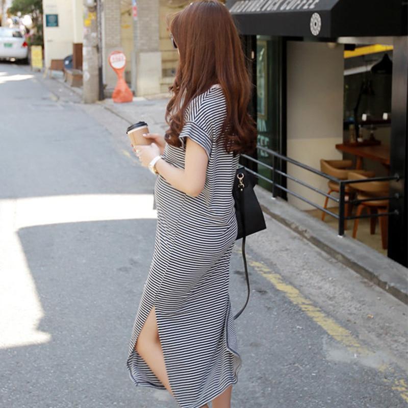 Korean Women Stripe Pregnant Dress Short Sleeve Long Pregnancy Dresses Slim Body Design Maternity Dress Casual Maternity Clothes