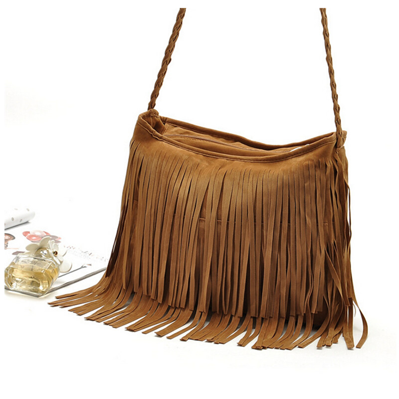 2016 hot! Casual Faux Suede Women Leather Handbag Shoulder Top-Handle Bags fringes Tassel Messenger Bag Crossbody Bags Brown dark blue zippered faux leather handle conference file contract bag container