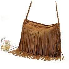 BARHEE Casual Faux Suede Women Leather Handbag Shoulder Top-Handle Bags fringes Tassel Messenger Bag Crossbody Bags Brown