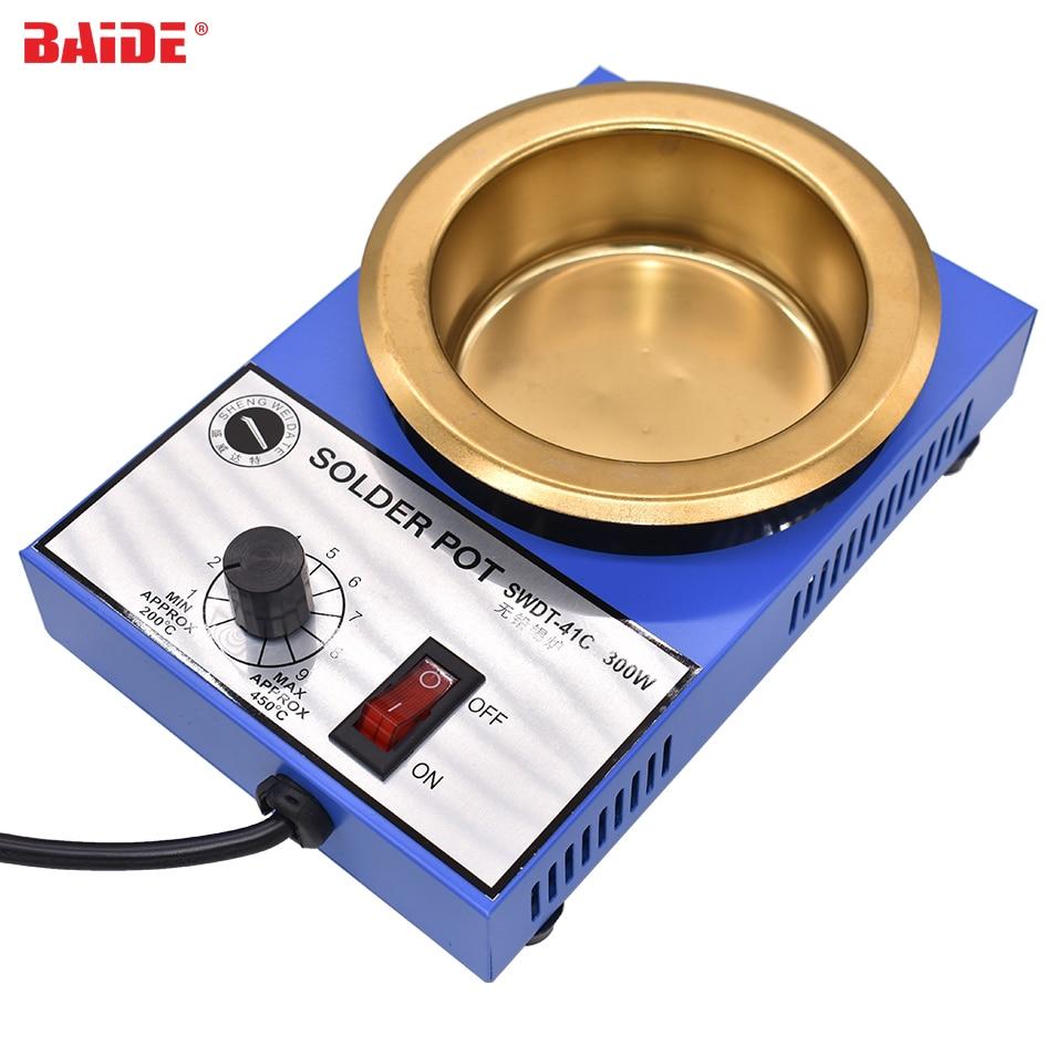 220V 300W Solder Pot Soldering Desoldering Bath 100mm SWDT 41C Solder Pot 450 Degree Max Soldering