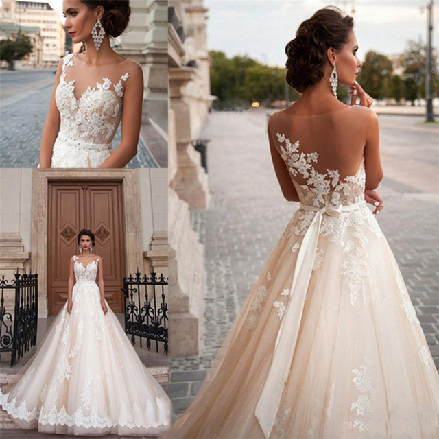 Scoop Illusion Wedding Dresses Long Lace Applique Beading Waist Sweep Train Bridal Gown Dress with Detachable Beading Sash 3