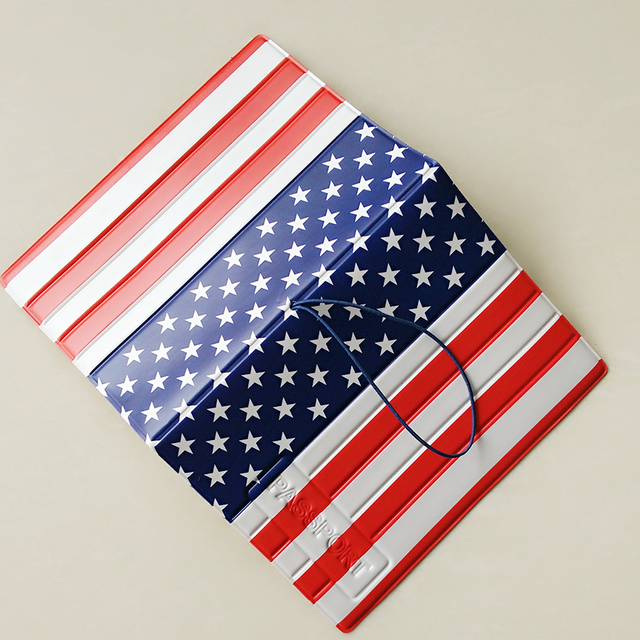 fashion american flag passport cover id credit card holder 3d design