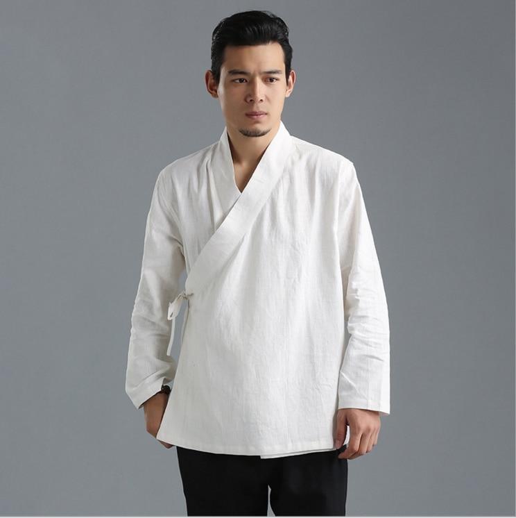 Chinese style autumn leisure mens coat  pure linen hanfu loose features claret blue white Tangsuit Kongfu costume