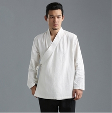 Chinese style autumn leisure mens coat  pure linen hanfu loose features claret blue white Tangsuit Kongfu costume