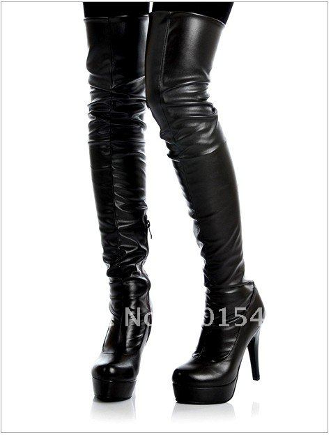 Genuine Leather Over The Knee Boots - Boot Hto