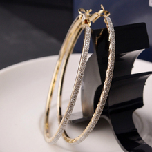 SUKI Hot Party Earrings Fashion Trendy Big Round Hoop Circle Elegant Simple Pierced Silvery/Golden 2 Colors