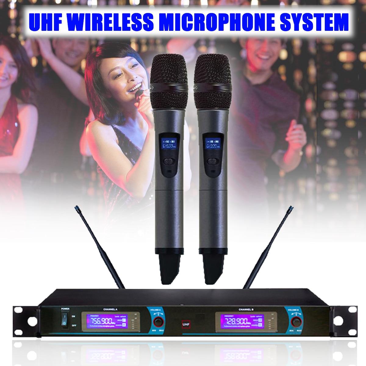LCD Display UHF Wireless Dual Studio Microphone Mic System Home KTV Karaoke DJ Wireless Microphone Profesional for Computer dual uhf handheld wireless microphone lcd audio system 2 mic for karaoke ktv