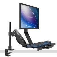 Desktop Full Motion Gasfeder Arm Computer Monitor Halter + Tastatur Halter Halterung Ständer Sitzen-Stand Workstation