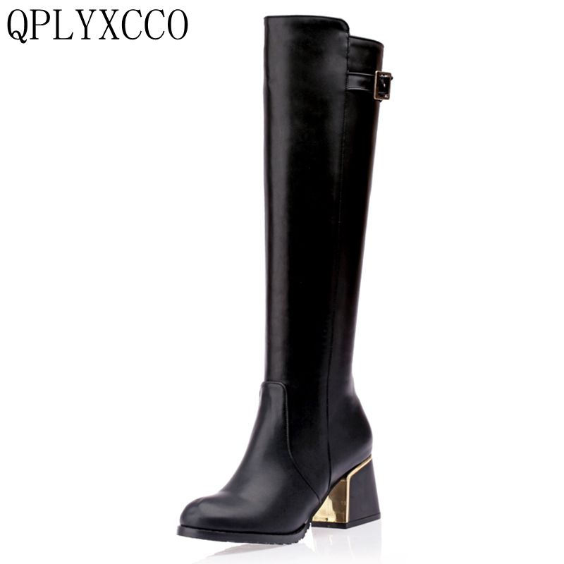 QPLYXCO Sale Fashion New Super Big &small Size 30-54 long Boots Winter warm Women zipper knee the Boots High quality shoes A18 qplyxco 2017 sale big