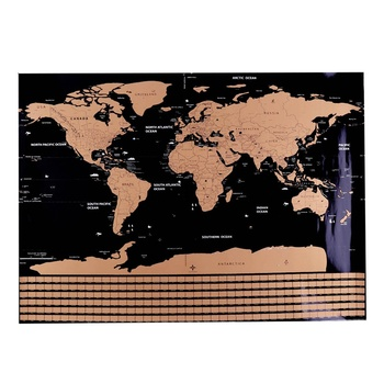 1 pc creative fashion map mini personalized world scratch off map in office supplies