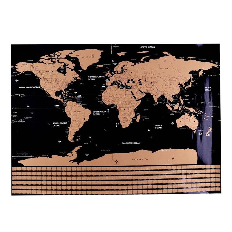 1 punid Mapa de rasguños personalizado Mapa de rasguños del mundo Mini creativo Scratch Off Mapa de palabras