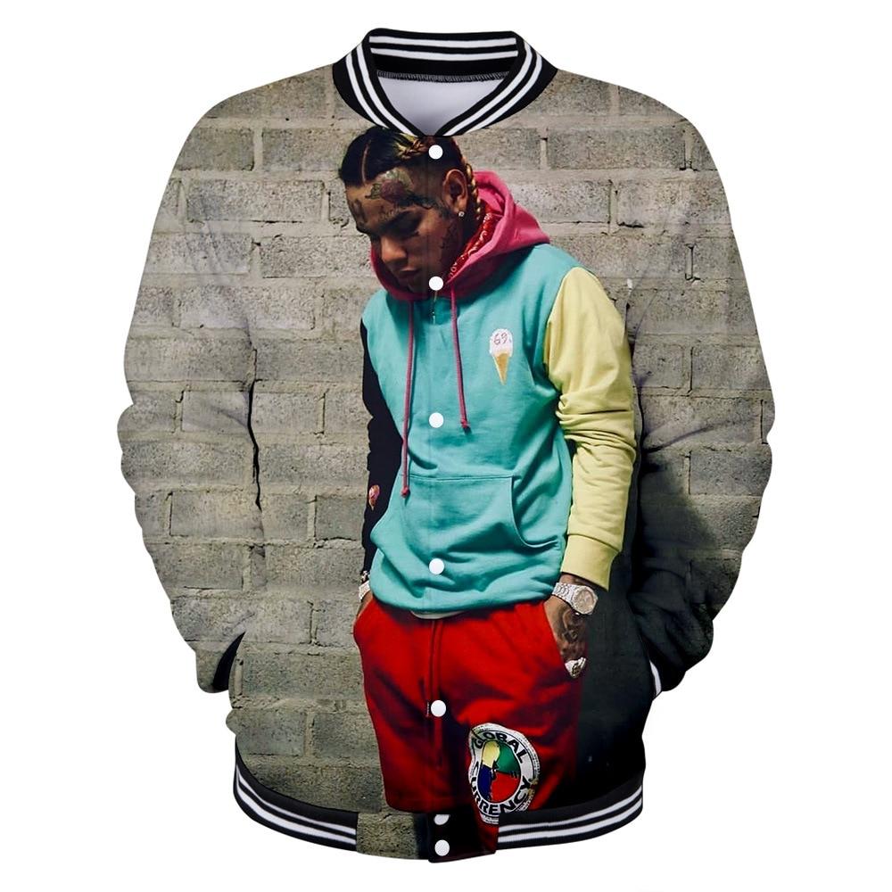 Mens Bomber Jackets 2019 Rapper Tekashi 69 6ix9ine 3D Print Oversized Hoodie Men Hip Hop Streetwear Funny Men's Baseball Uniform