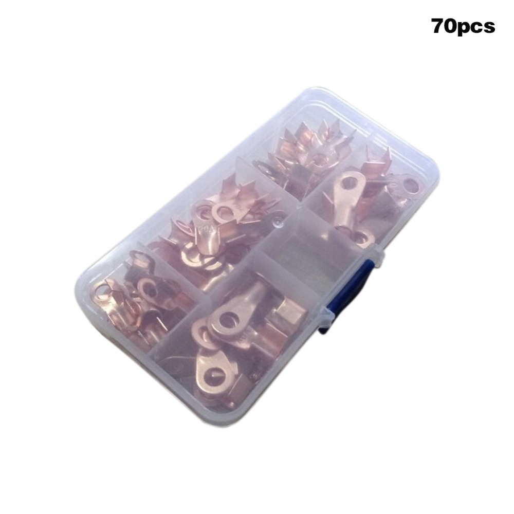 70Pcs Copper Battery Cable Wire Connector Assortment Set Terminal Open Lugs 10-50A WWO66