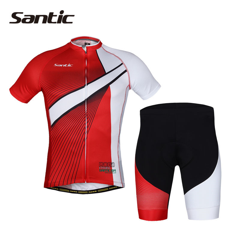 Santic Coolmax Jersey Set Short Sleeve Cycling Sets  Pro Team Summer Bike Cycle Bicycle Red Sports Clothing For Men MCT037 santic short sleeve cycling jersey bib shorts pad sets conjunto ciclismo manga cycling bike sports clothing mct031