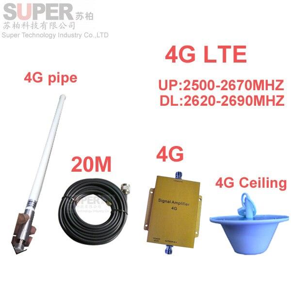 4G LTE booster 4G repetidor w/20 M de cable y antena FDD LTE booster amplificador de señal 4G booster teléfono 4G 2500-2570 mhz 2620-2690 mhz