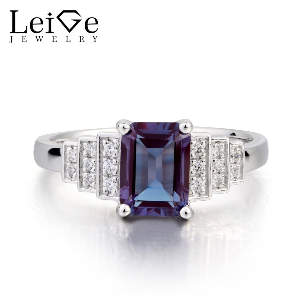 Leige Jewelry Wedding Ring Lab Alexandrite Ring Emerald Cut Gemstone June Birthstone Solid 925 Sterling Silver Anniversary Gifts цена