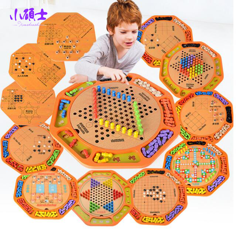 12 in 1 Checkers Multi-function Wooden Chess Checkers Kids Child Educational Game Parent-child Interaction Puzzle Flight Chess