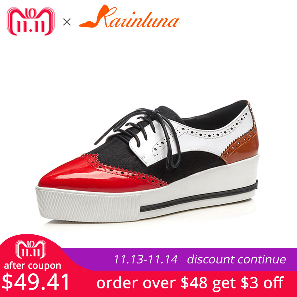 KARINLUNA 2018 Large Size 32 40 Cow Leather Wedge High Heels Platform sneakers Woman Shoes Lace Up Black Red Woman Shoes