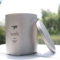 Keith 300 ml Fincan Titanyum Çift duvar Kupa Kapaklı Su Cam Hiçbir Koku Hiçbir Ölçekli Bakteriyostatik Drinkware Kupalar Camp Yürüyüş Ti3302