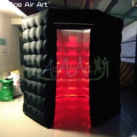 Fashionable shape photo booth inflatable eight square octagon foto canbinet tent with LED lights for party glow in CHILE