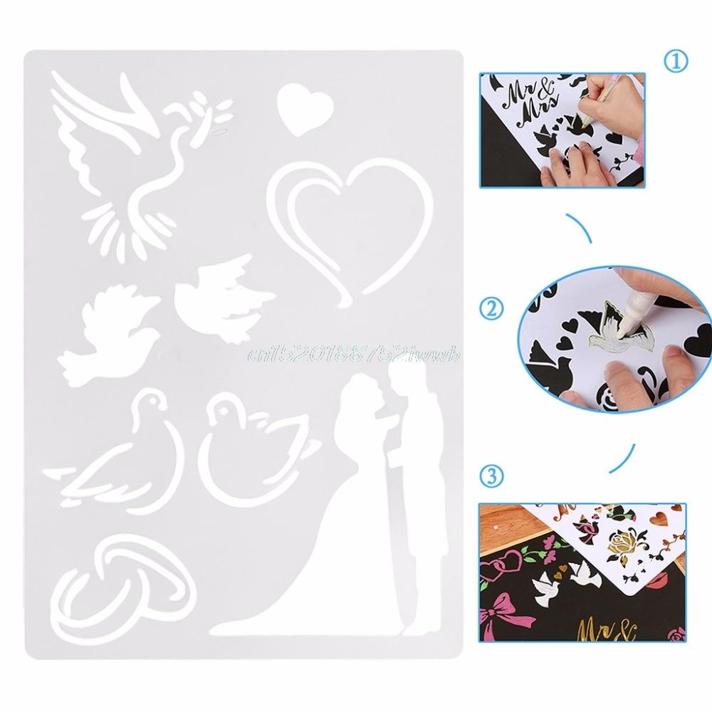 Wedding Couple Plastic ReusableTemplate Stencil Spray Paint Art Home DIY Decor #T026#