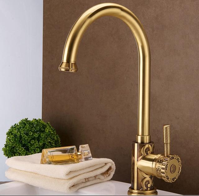Luxury H62 Brass Antique Art Faucet Kitchen Bathroom Vessel Sink ...