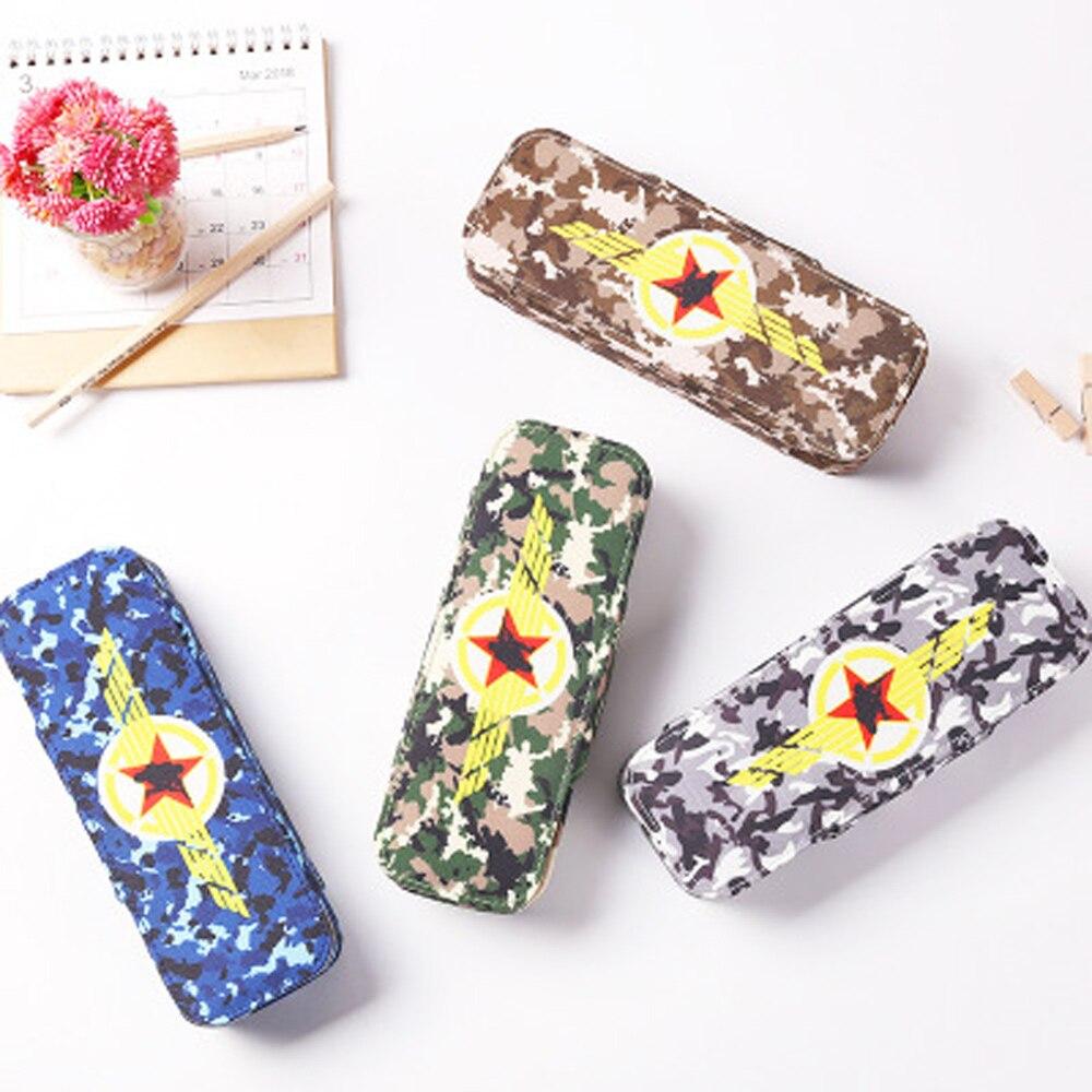 Cool Boy School Pencil Case Pen Bag Student Stationery Five Stars Camouflage Pencil Bag Box High Quality Pen Box School Supplies цена