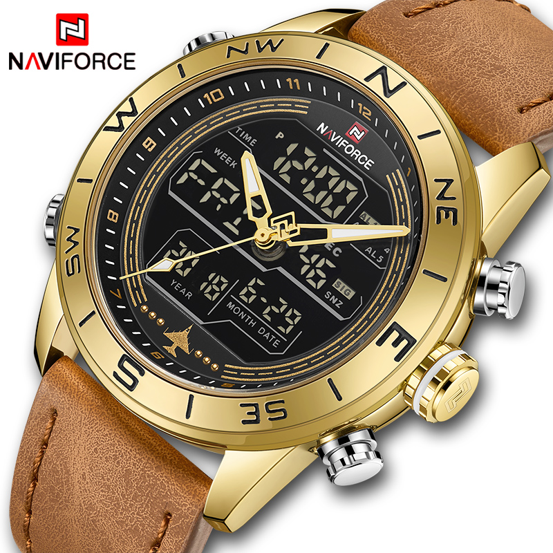 NAVIFORCE 9144 Men Fashion Gold Sport Watches Mens LED Digital Quartz Watch Army Military Leather Analog Clock Relogio MasculinoNAVIFORCE 9144 Men Fashion Gold Sport Watches Mens LED Digital Quartz Watch Army Military Leather Analog Clock Relogio Masculino