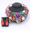 African Beads Jewelry Sets For Women Accessories Wedding Bridal Crystal Pendant Statement Necklace Earring Resin Gem Jewelry Set