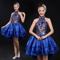 Short In Front Long China Dragon Traditional Women Modern Stage Dance Dresses Yellow Royal Blue Red