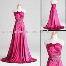 Heißer verkauf Formal Fuchsia Boden-länge Cocktail/Heimkehr/Mode Kleid New Fuchsia Farbe Elastische Satin Benutzerdefinierte Kleid Für Verkauf