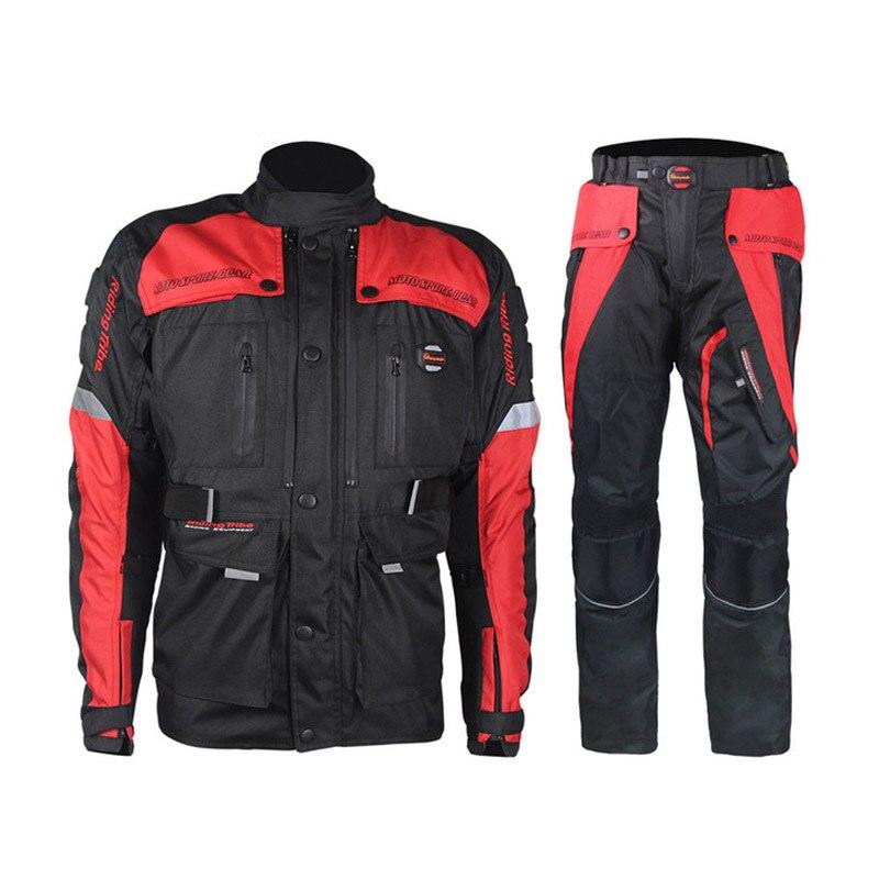 Ensembles de moto hommes veste pantalon hiver imperméable Motocross vêtements de course pleine Protection cyclisme costume ensembles pour 4 saisons