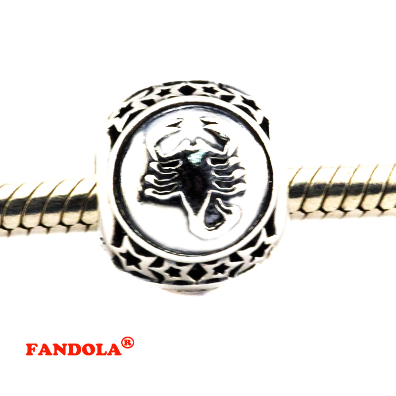 DIY Fits Pandora Bracelets Scorpio Star Sign Beads 925 Sterling Silver Jewelry Charms for Women Free Shipping