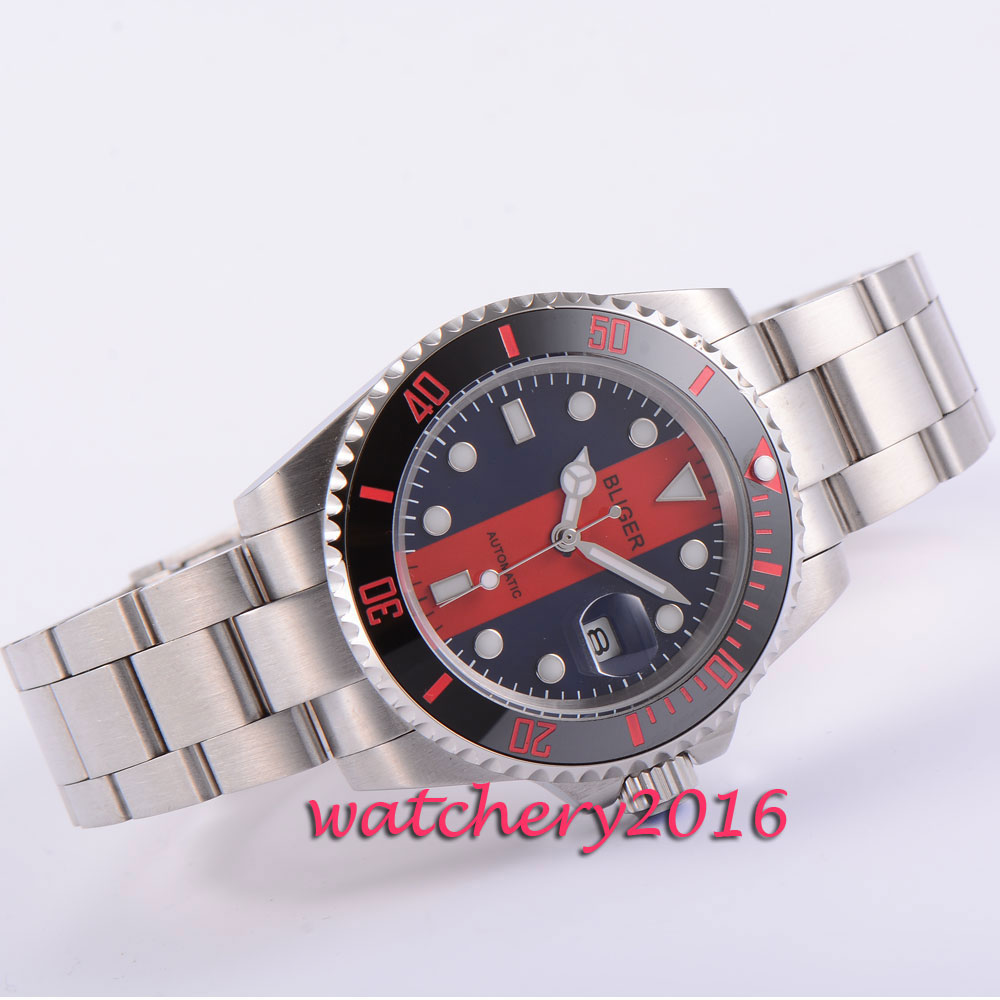 40mm Bliger black & red dial ceramic bezel deployment clasp sapphire glass date luminous automatic movement Men's watch