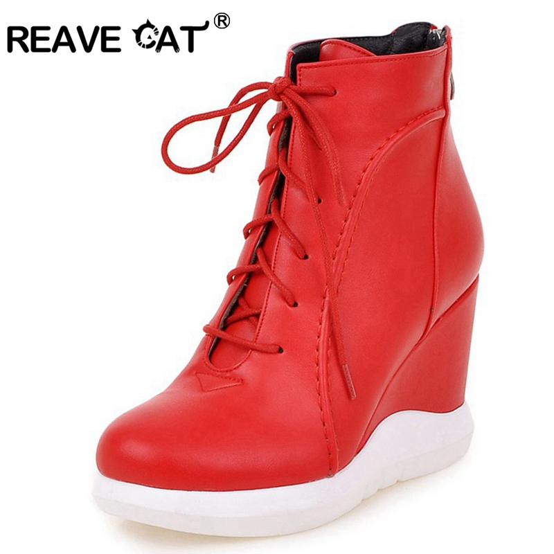 REAVE CAT 2018 Winter Women Shoes Pltaform High Heels Boots Ankle Boots PuLeather Wedges Zipper Round