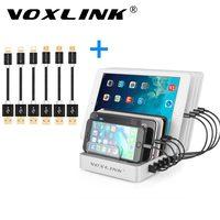 VOXLINK 19.2A 8-Port בעל דוכן מטען Dock שולחן עבודה תחנת טעינה עם 8 יחידות USB טעינת כבלים עבור iPhone סמסונג iPad