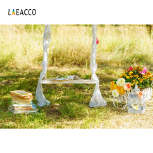 Laeacco Flower Swing Books Cage Grass Child Scenic Photography Backgrounds Customized Photographic Backdrops For Photo Stadio