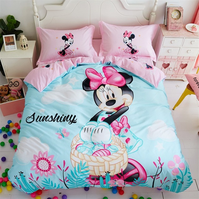 Disney brand romantic wedding minnie mouse bedding set twin size bed ...