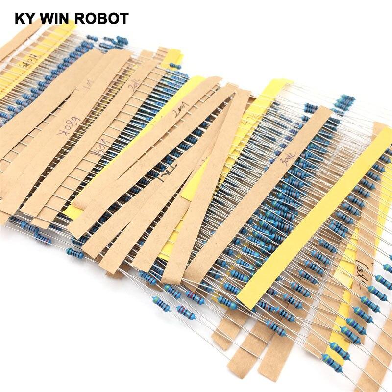 1 Pack 20Pcs 10 -1M Ohm 1/4w Resistance 0.25W 1% Metal Film Resistor Resistance 30 Kinds