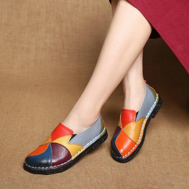 Designer de Dropshipping Mocassins de Couro Femininos de Verão Mulheres Genuínas Cores Misturadas Senhoras Mocassins Ballerina Ballet Flats Sapatos