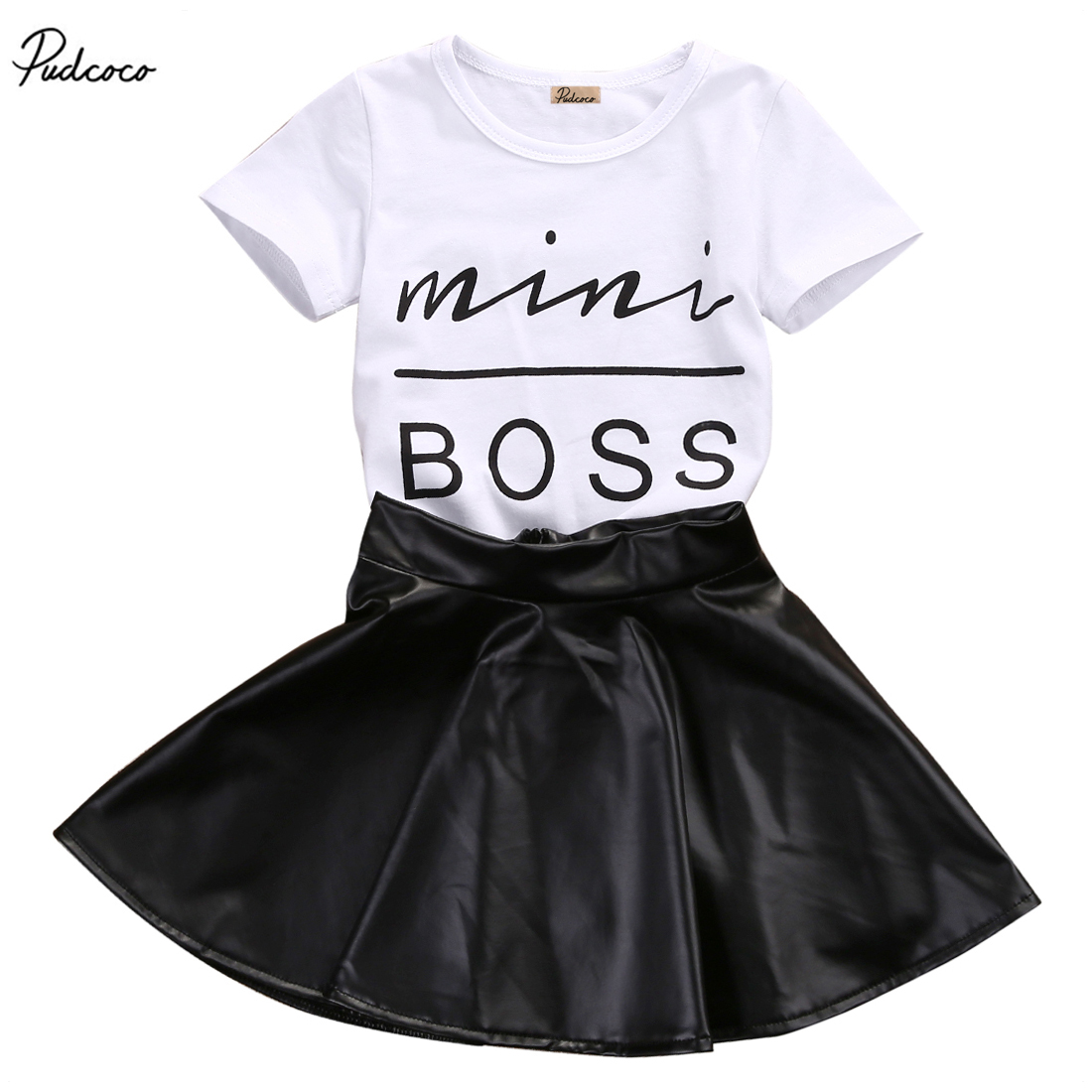 2 Pz Cute Baby Ragazza Bambini Mini Boss Lettera Manica Corta T-shirt Top Faux Leather Mini Gonne Outfit Set 1-6y Prezzo Moderato