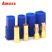 2sets Amass 3.5mm EC3 Banana Plug High Current 100A With Sheath Gold Bullet Plug For RC Lipo Battery