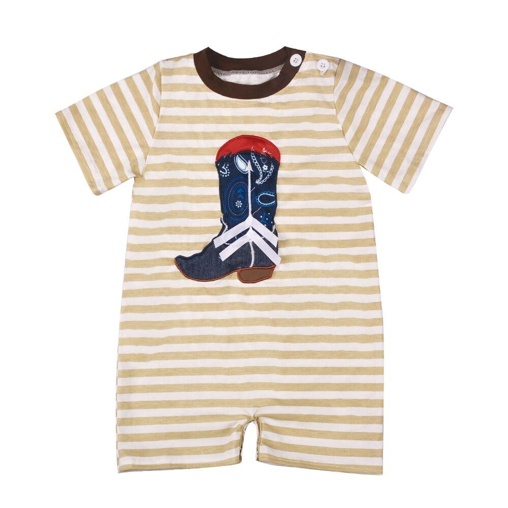 Baby Jungen Kleidung Sommer Neugeborenen Kinder Stickerei Boot Muster Mode Gestrickte Baumwolle Strampler BPF804-020